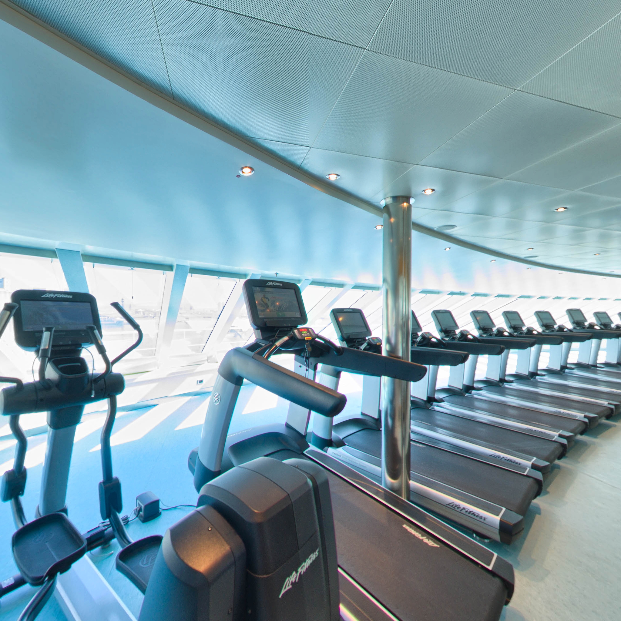 Panorama of Fitness Center on Carnival Vista