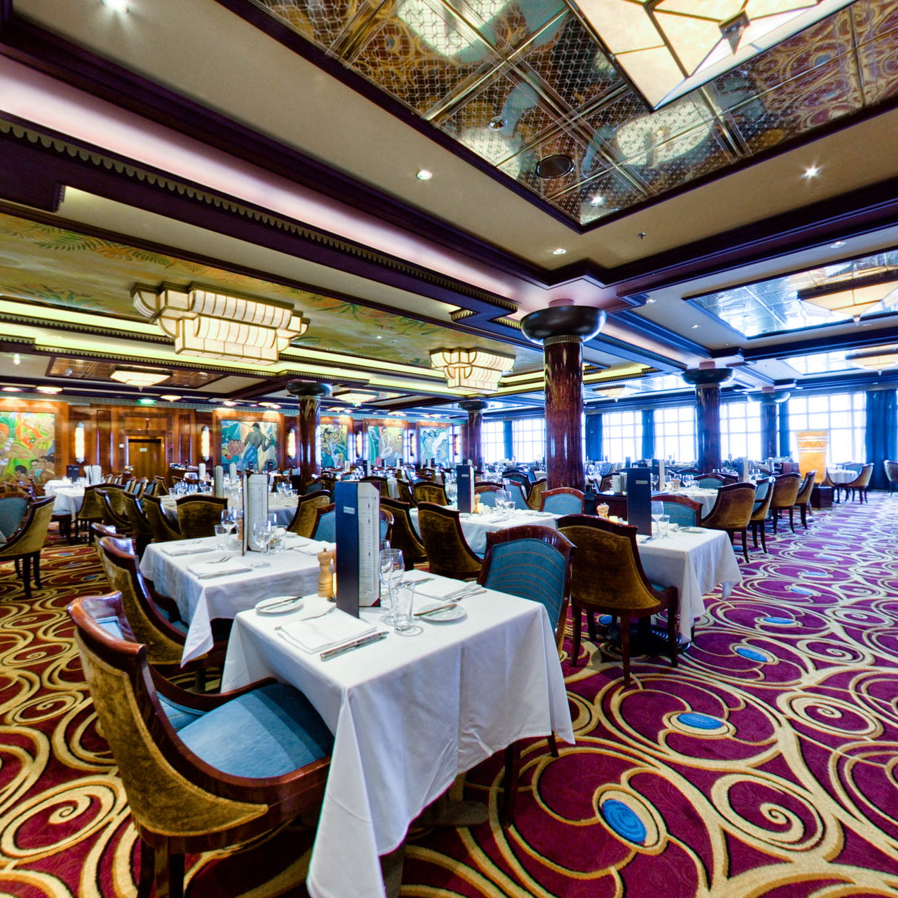 Panorama of Grand Pacific Dining Room on Norwegian Jade