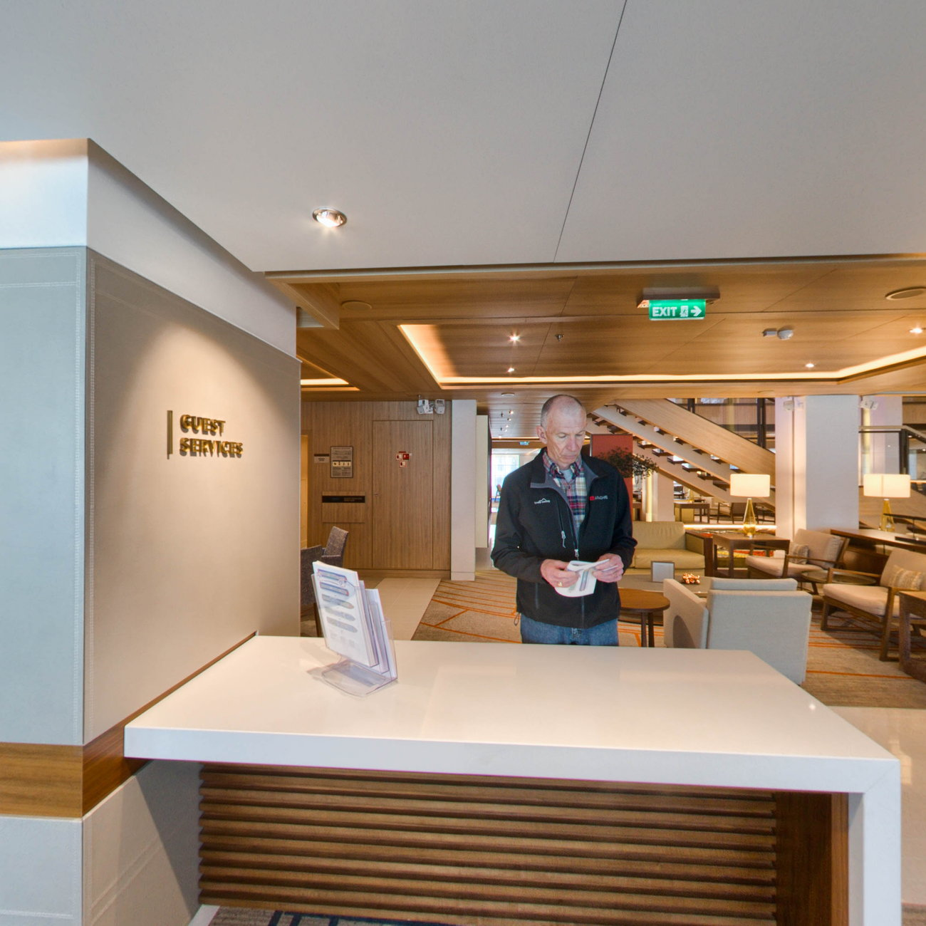 Panorama of Guest Services Desk on Viking Sky