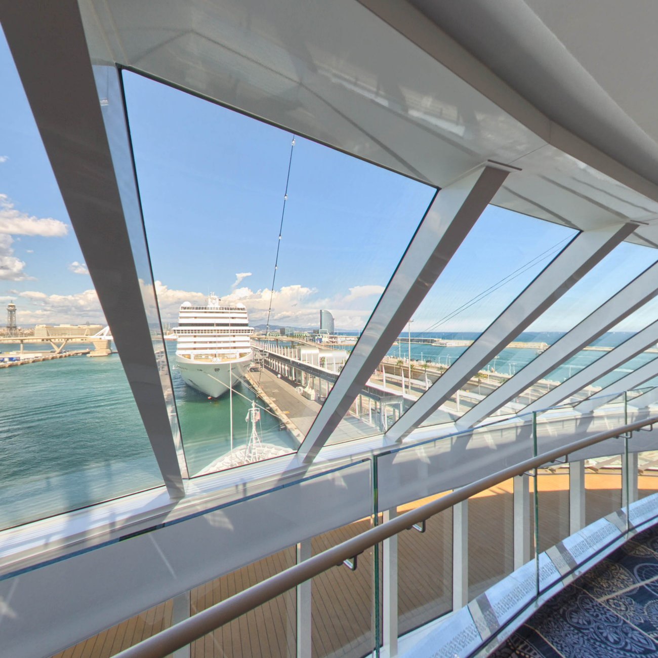 Panorama of Explorers' Lounge on Viking Sky