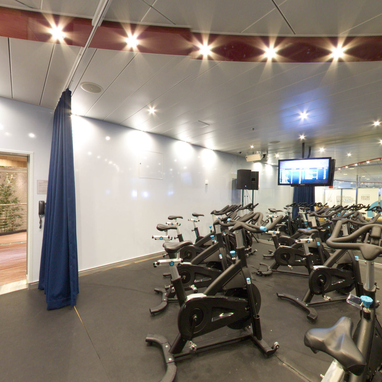 Panorama of Fitness Center on Oasis of the Seas