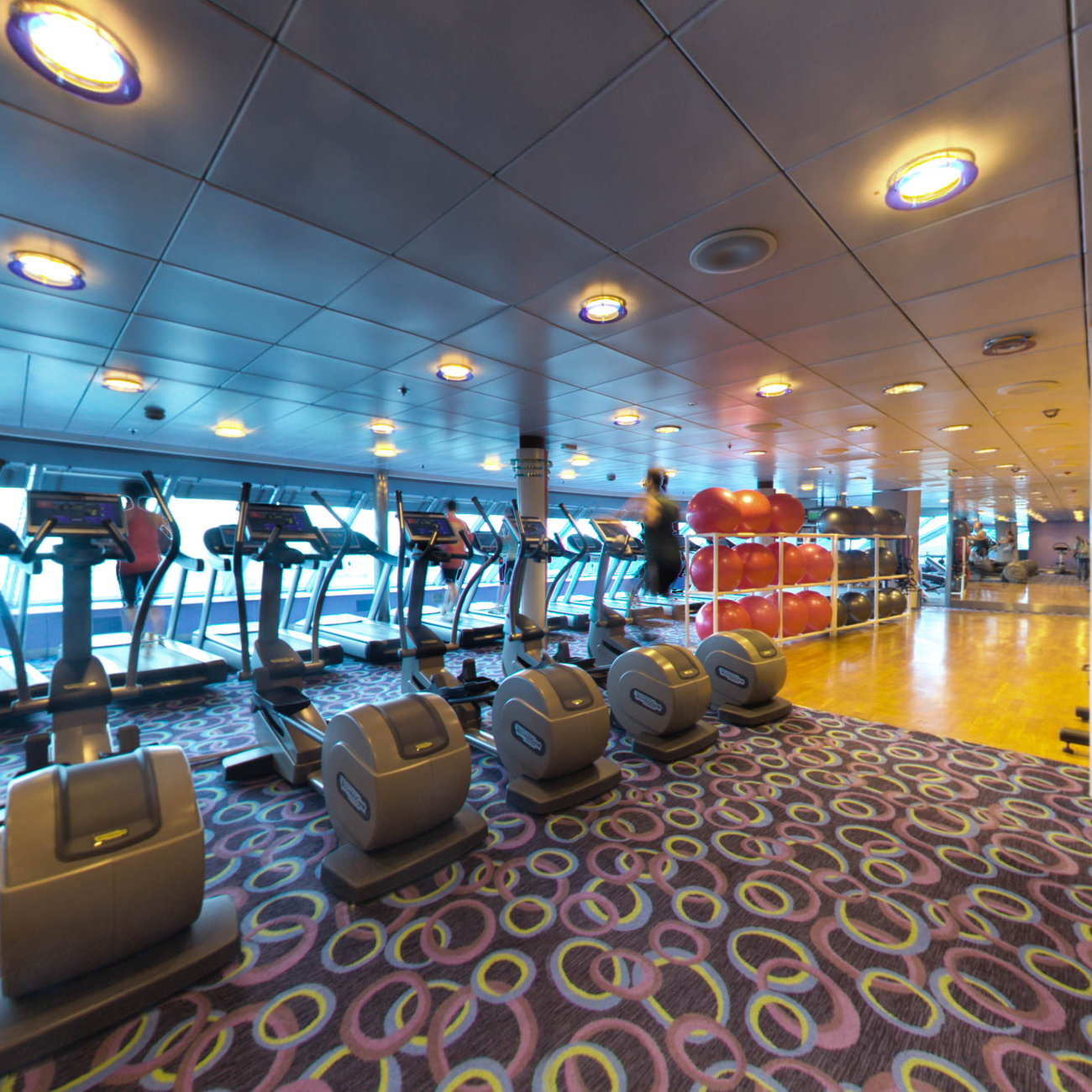 Panorama of Fitness Center on Celebrity Constellation