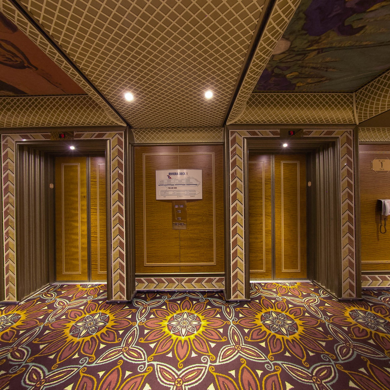Panorama of Elevators on Carnival Conquest
