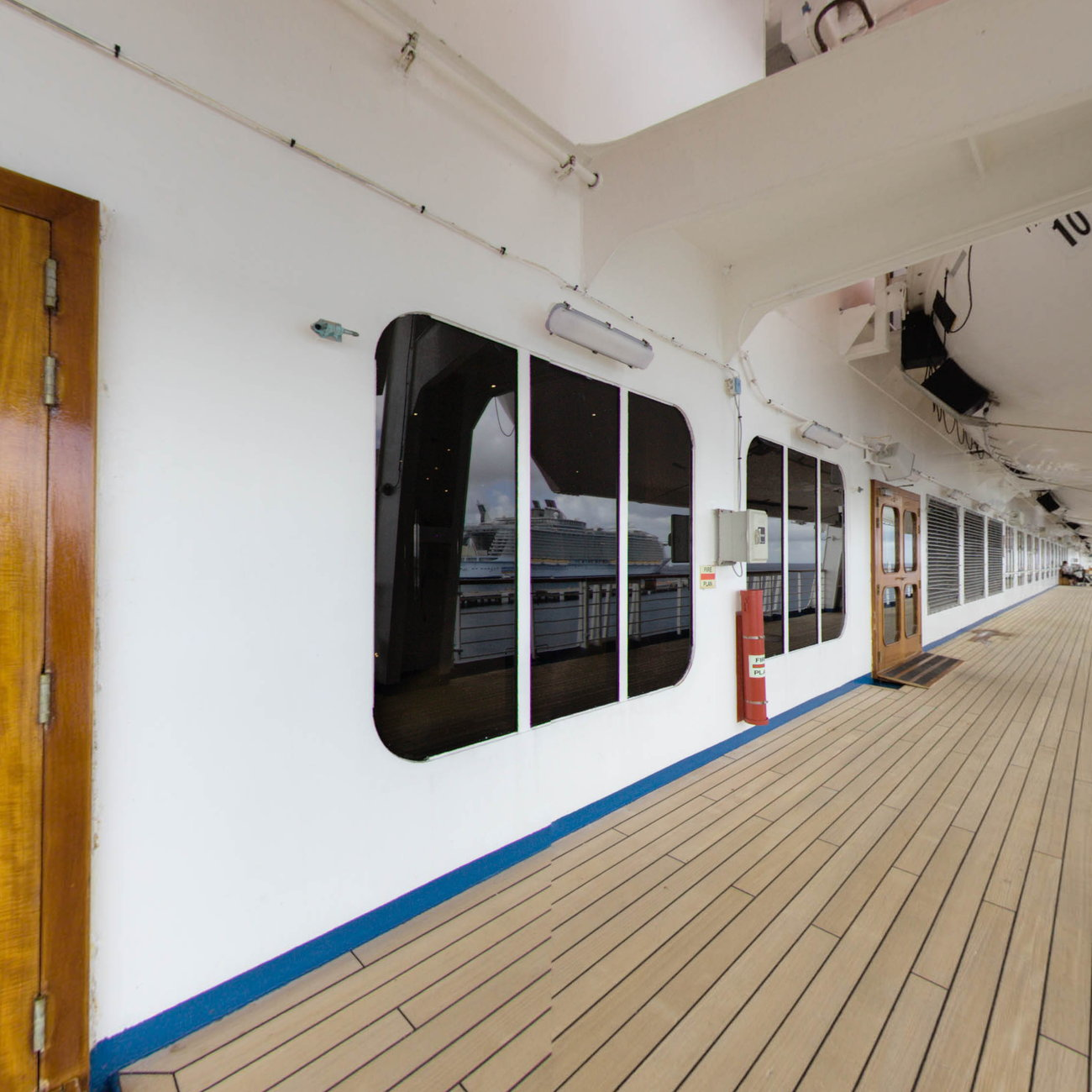 Panorama of Exterior Deck on Carnival Conquest